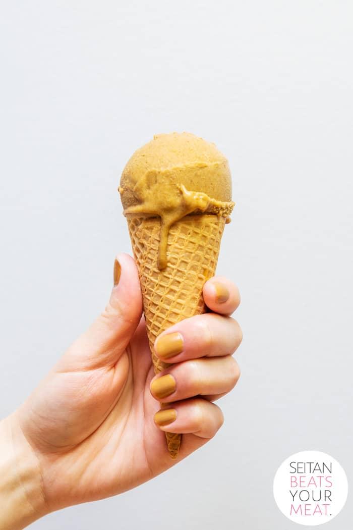Hand holding vegan pumpkin ice cream