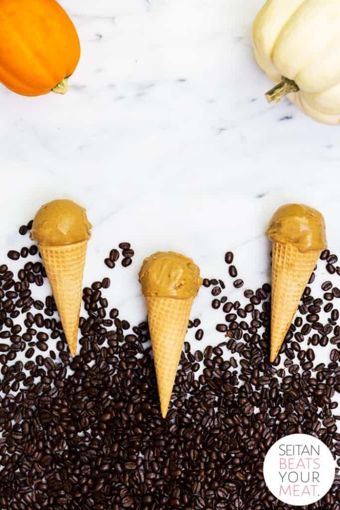 Pumpkin latte ice cream cones