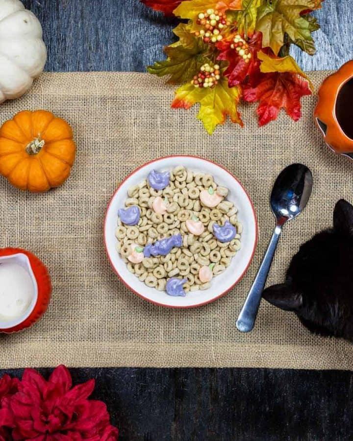Overhead image of vegan halloween cereal on burlap
