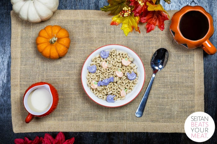 Overhead image of Halloween Lucky Charms with pumpkins