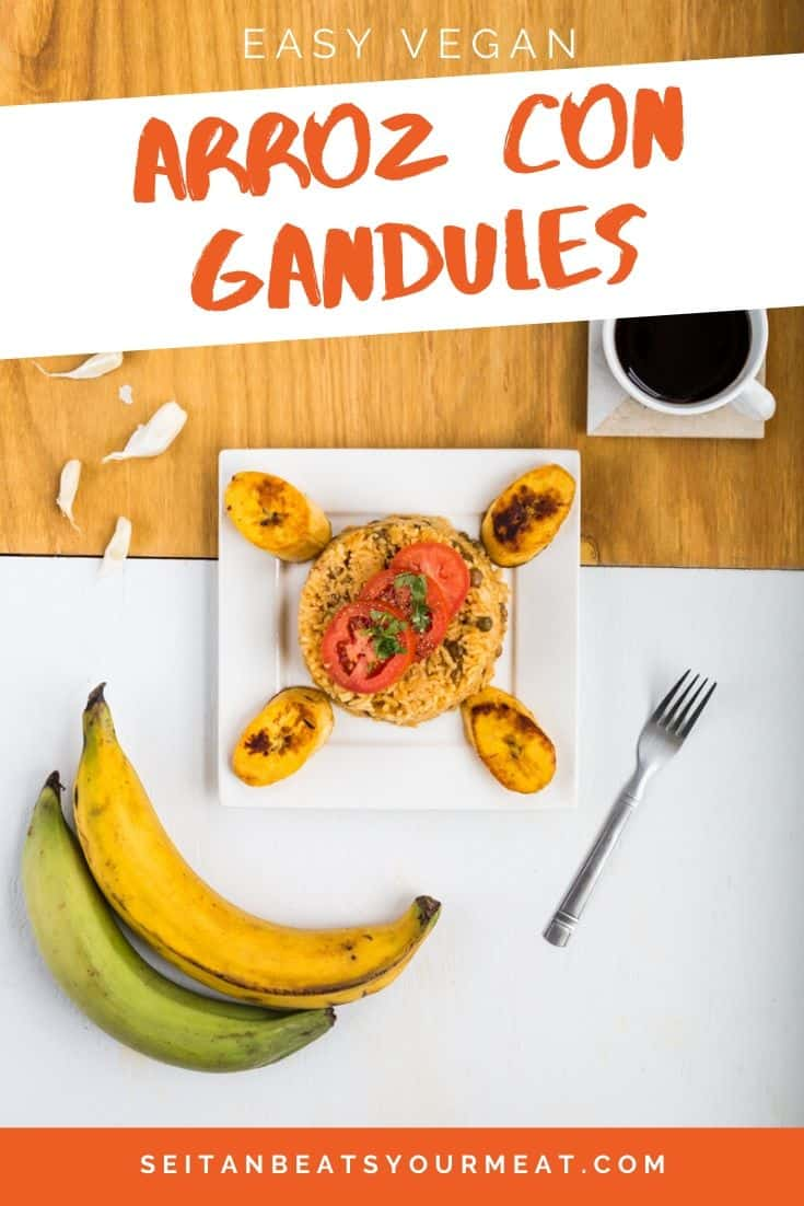 Overhead image on wood with plate of arroz con gandules with coffee and plantains with text that says