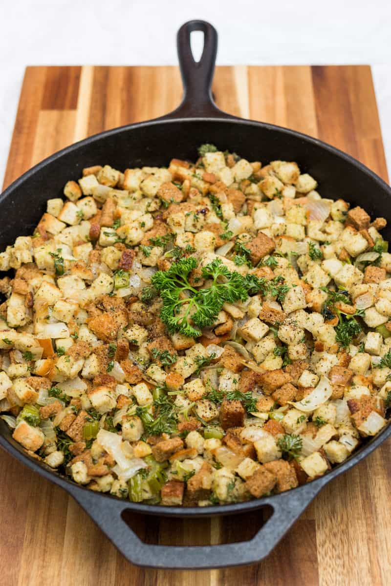 Close up of stuffing in cast iron pan