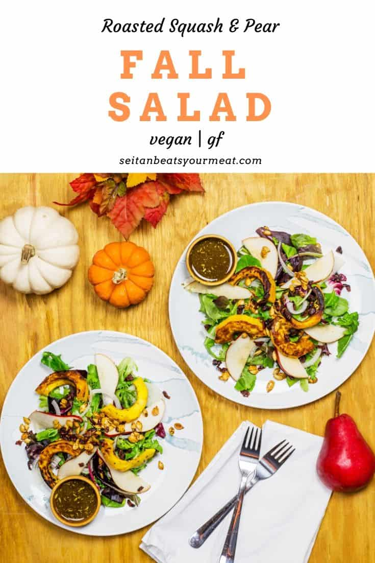 Image of fall salads with text