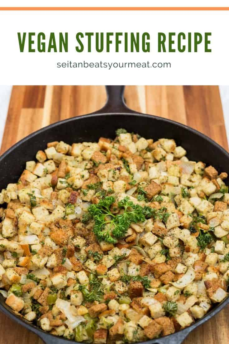 Image of stuffing in cast iron pan with text
