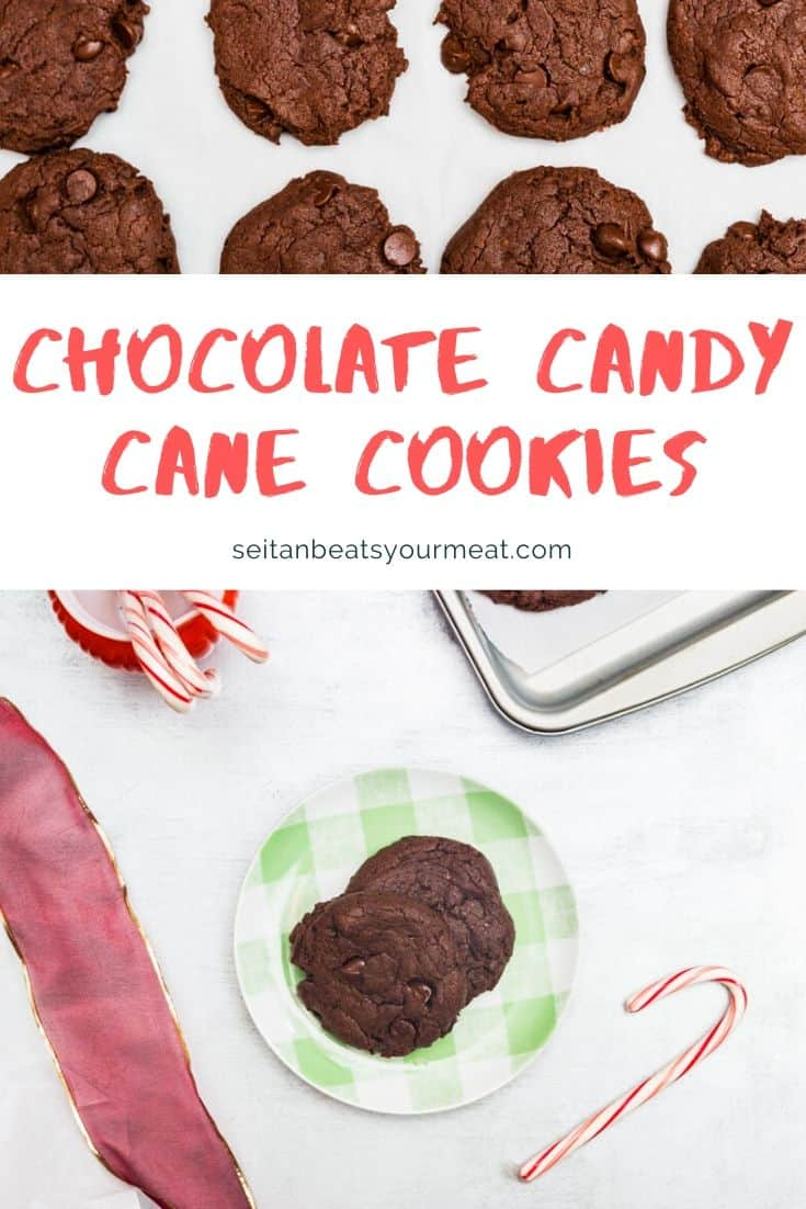 Chocolate candy cane cookies text with images of cookies