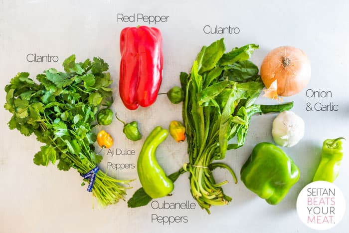 Images of ingredients used in Puerto Rican sofrito with text overlay for each ingredient