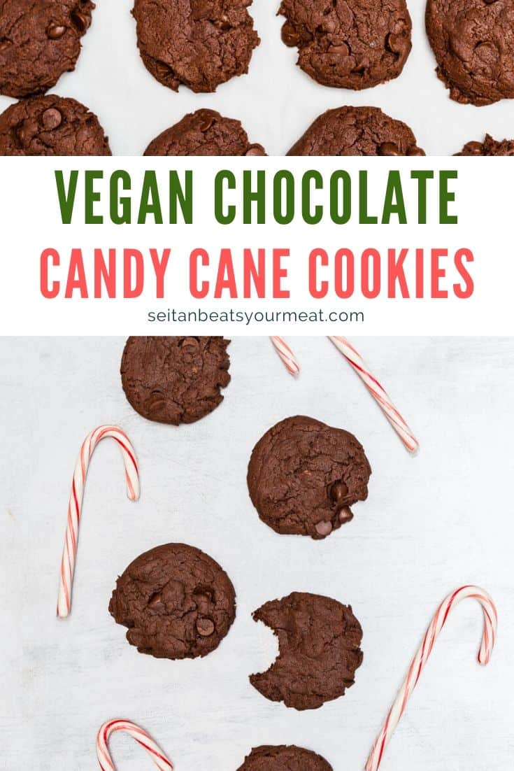 Vegan chocolate candy cane cookies text with images of cookies