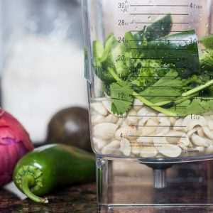 Cashews, cilantro, and jalapeño in blender