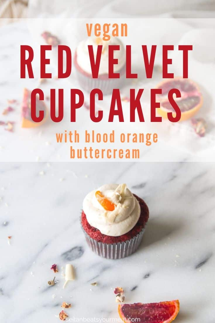 Red velvet cupcakes with frosting on marble background with blood orange slices