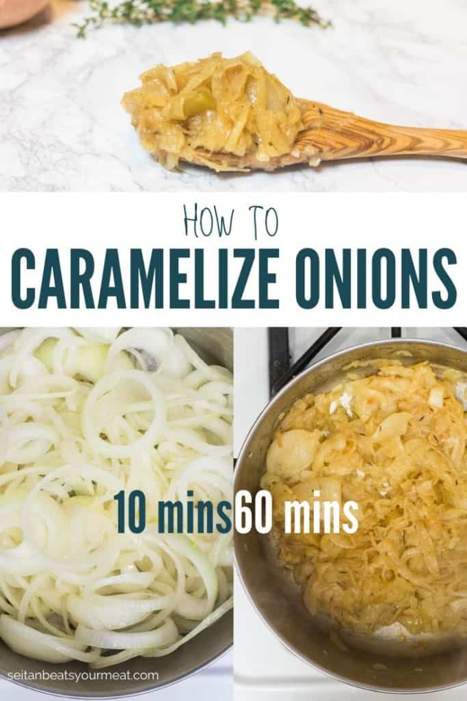 Graphic of caramelized onions depicting change of color in onions after 60 minutes of cooking