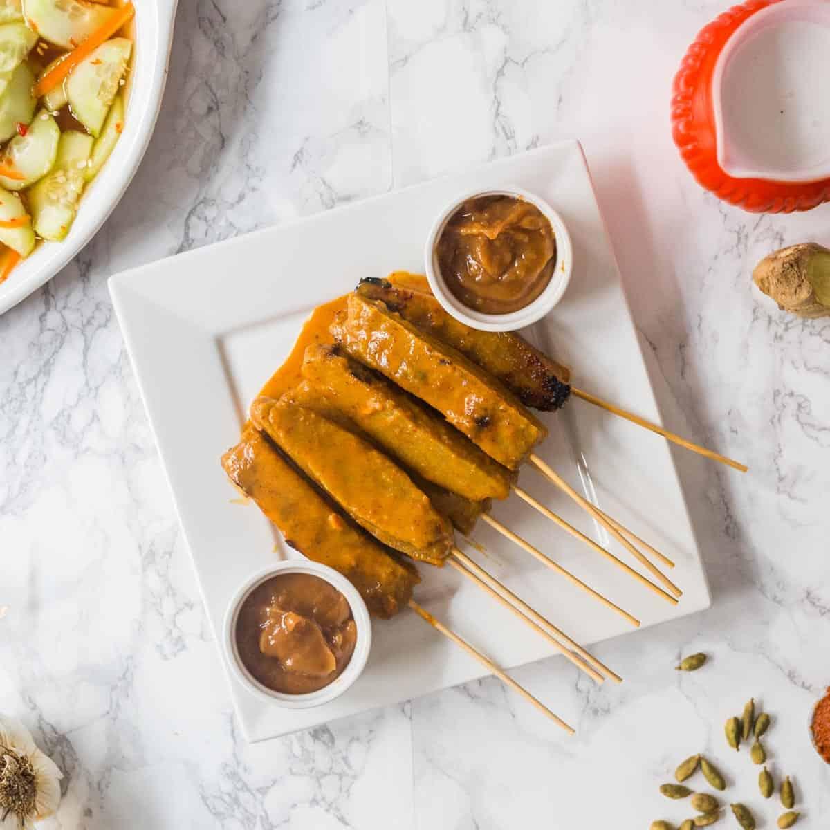Vegan Satay Seitan With Peanut Satay Sauce Thai Cucumber Salad