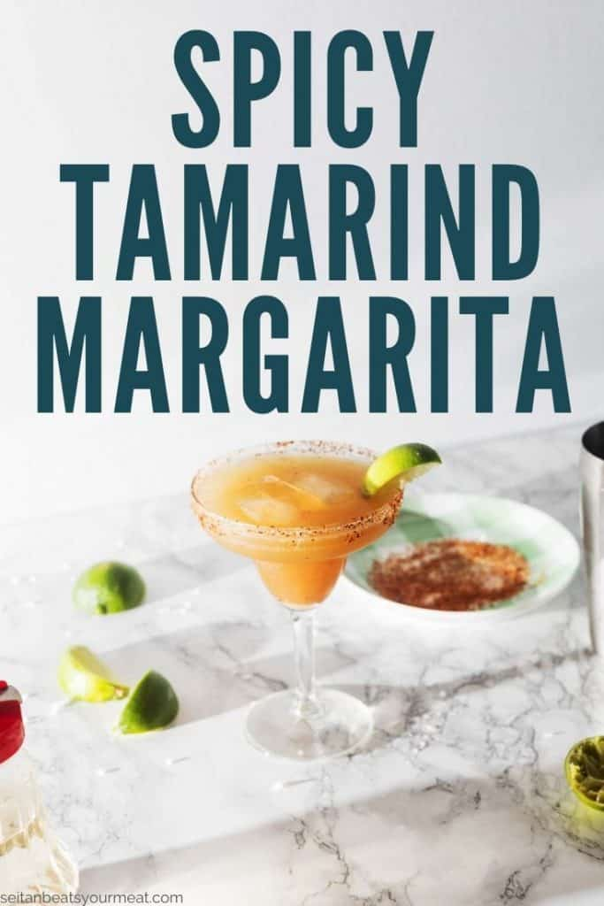 "Margarita with chile rim with text ""Spicy Tamarind Margarita"""