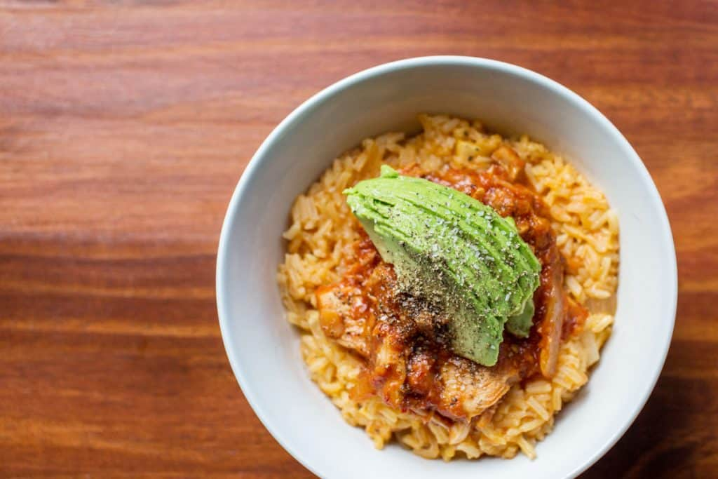 Bowl of rice with jackfruit tinga and avocado