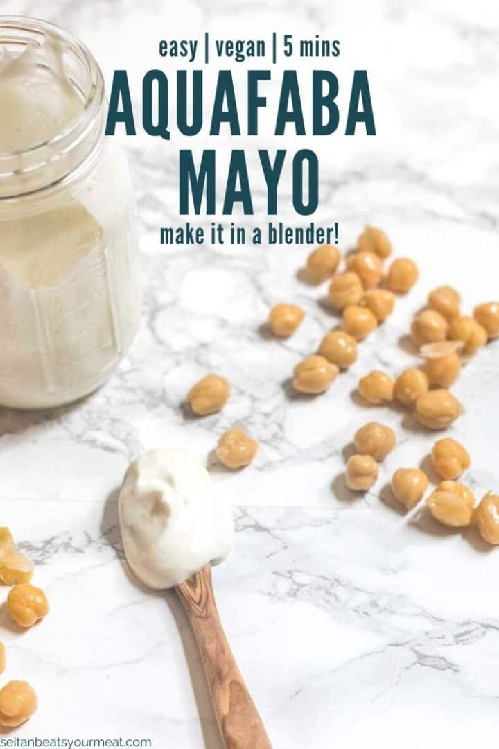 """Spoonful of mayonnaise on table with text """"aquafaba mayo"""""""