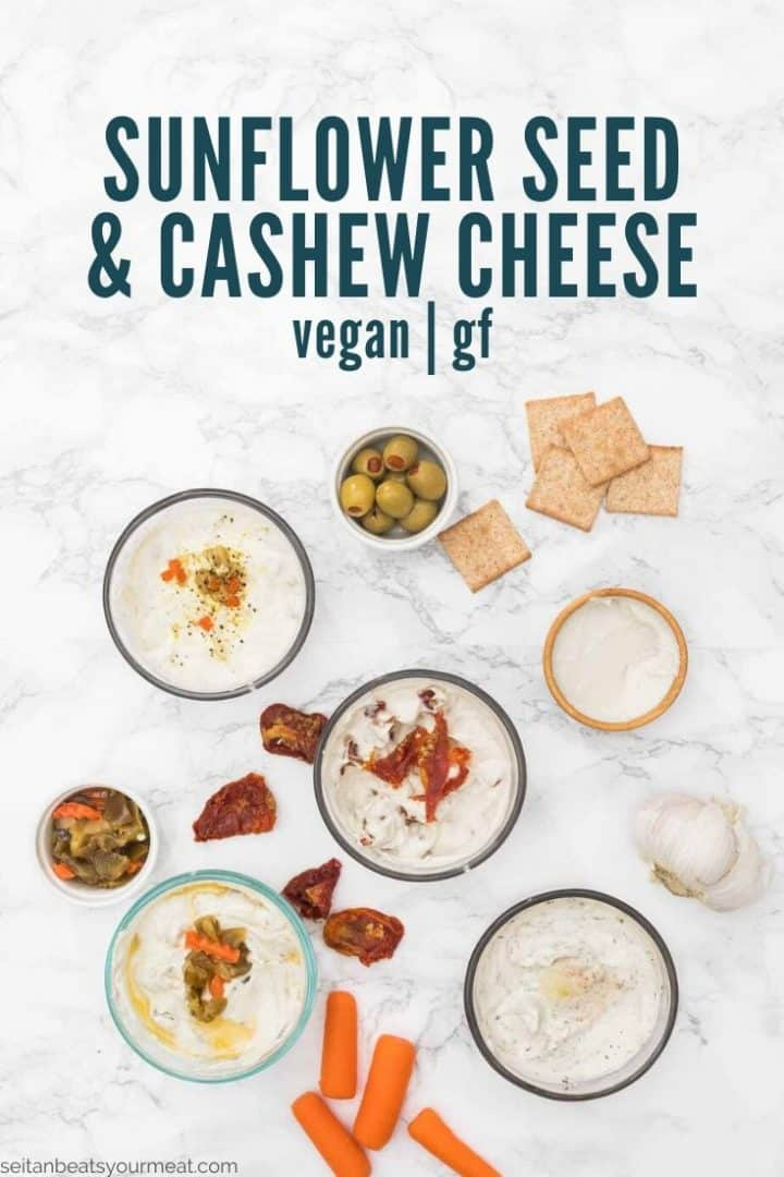 """Small bowls of spreadable cheese surrounded by antipasto with text """"sunflower seed vegan cheese (vegan/gf)"""""""