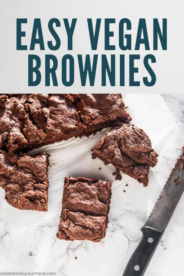 "Cut brownies and crumbs with text ""Easy Vegan Brownies"""