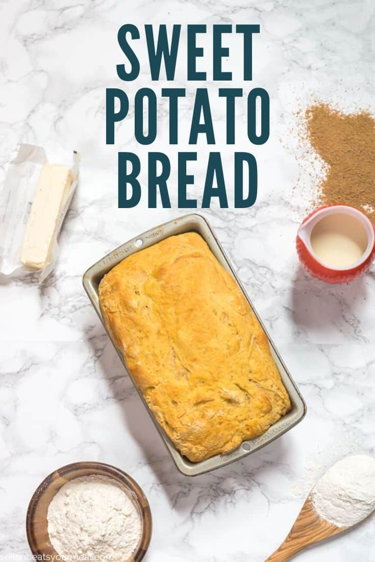 "Sweet potato bread on marble counter surrounded by ingredients with text ""Sweet Potato Bread"""