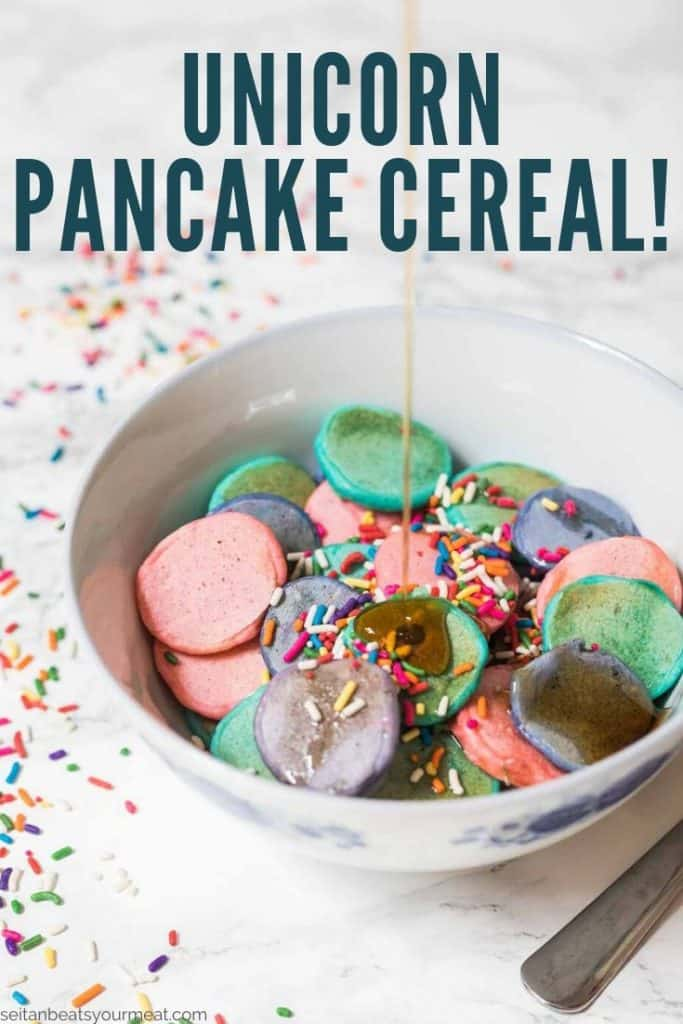 """Small pancakes in bowl with sprinkles with text """"Unicorn Pancake Cereal)"""
