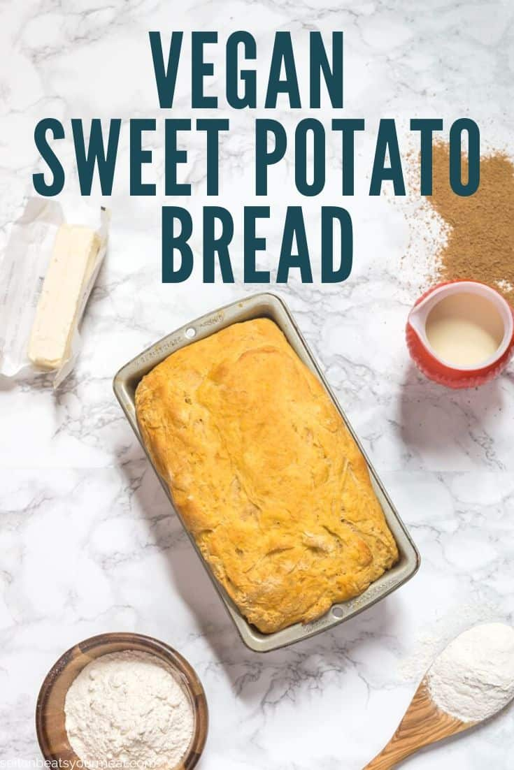 "Sweet potato bread on marble counter surrounded by ingredients with text ""Vegan Sweet Potato Bread"""