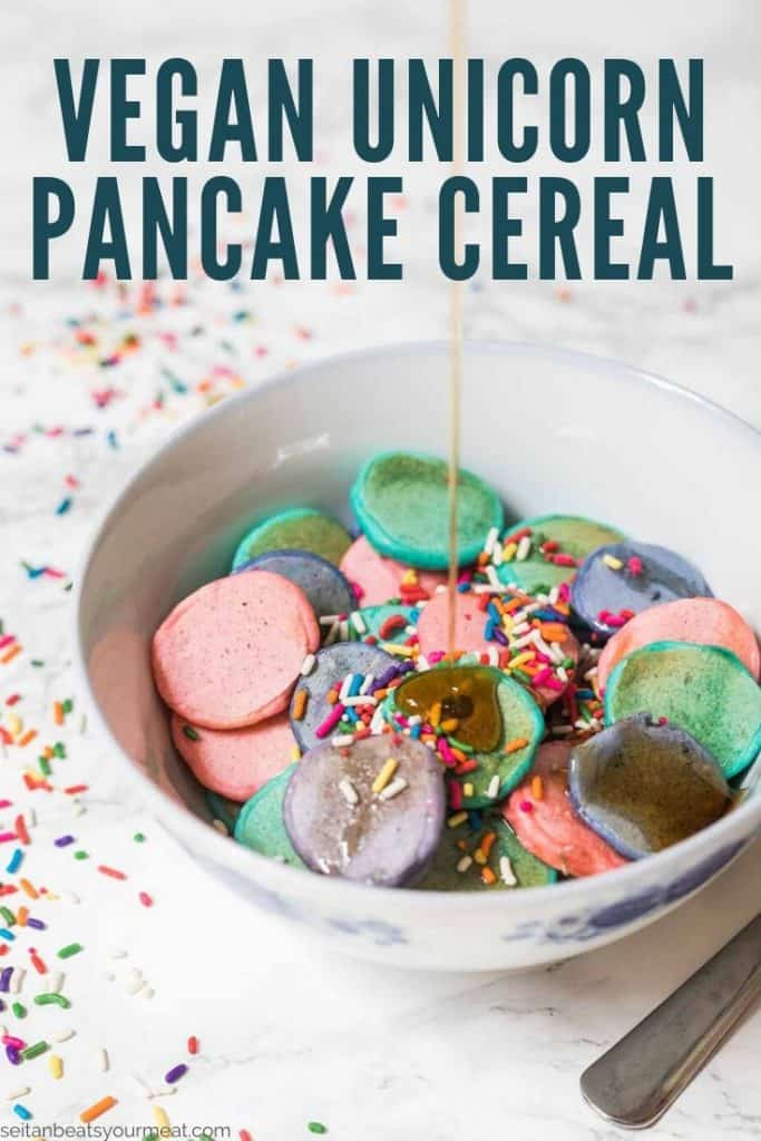 """Small pancakes in bowl with sprinkles with text """"Vegan Unicorn Pancake Cereal)"""