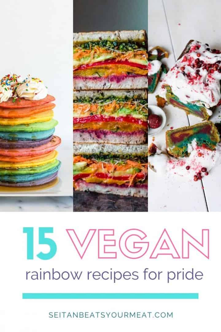 "Stack of colorful pancakes, sandwiches, and bread with text ""15 Vegan Rainbow Recipes for Pride"""