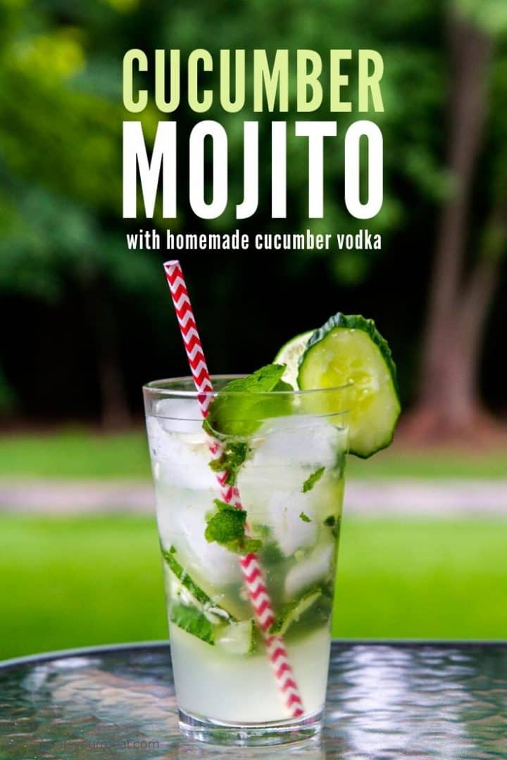 "Cocktail with mint, limes, and cucumbers in a pint glass with a red straw with text ""Cucumber mojito with homemade cucumber vodka"""