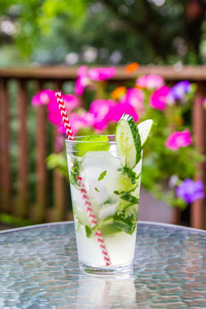 Cocktail with mint, limes, and cucumbers in a pint glass on outdoor table with pink flowers