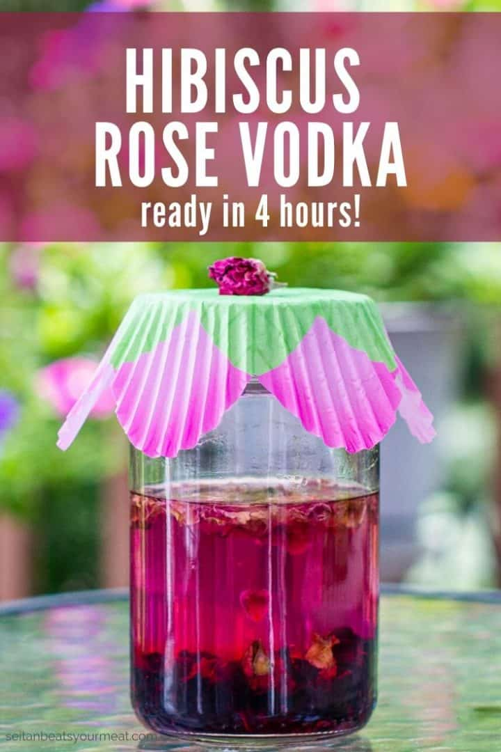"Jar of pink liquid with decorative paper top with text ""Hibiscus Rose Vodka ready in 4 hours!"""