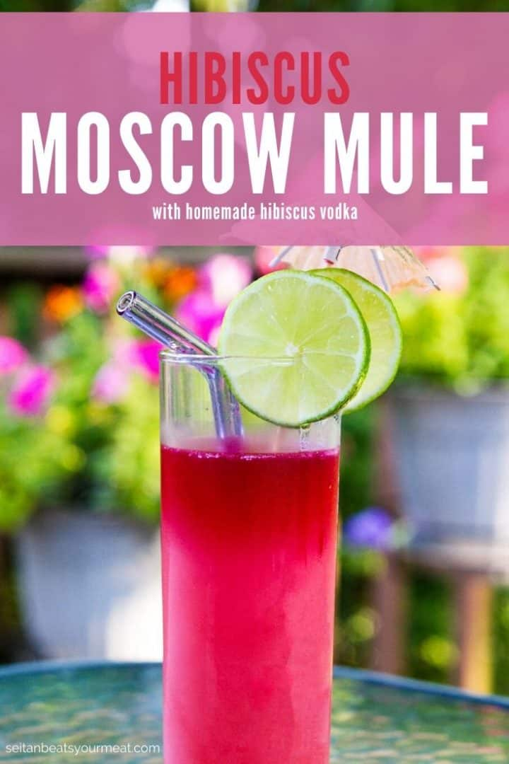 "Pink cocktail with lime slices with text ""Hibiscus Moscow Mule with homemade hibiscus vodka"""