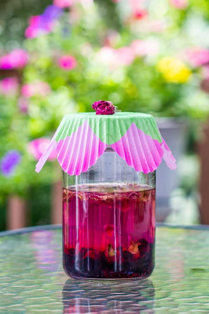 Jar of pink hibiscus vodka