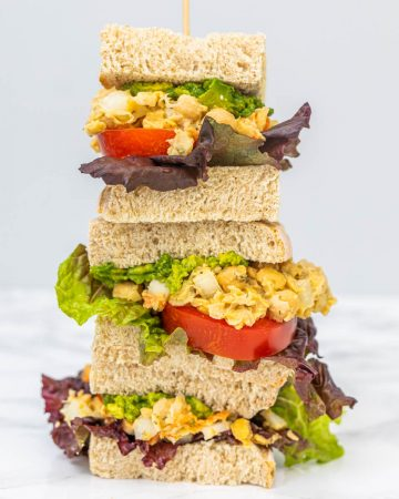 Stack of 3 chickpea salad sandwiches