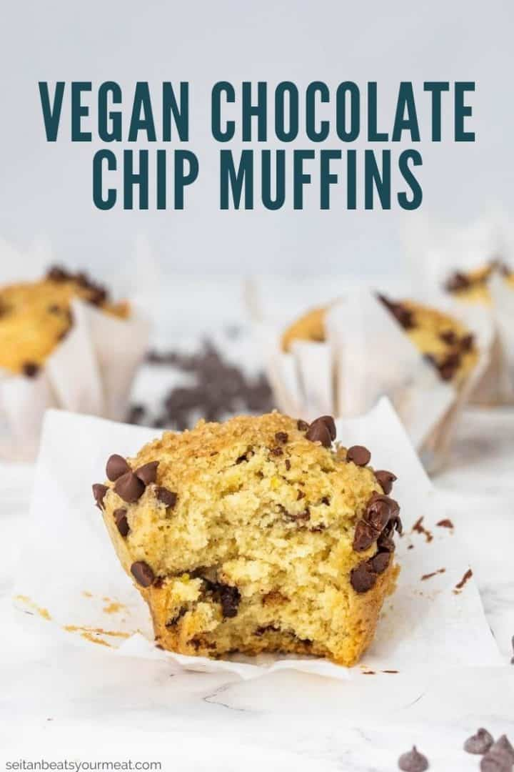 """Unwrapped muffin with bite taken out with text """"Vegan Chocolate Chip Muffins"""""""