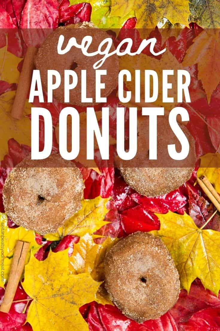"""Donuts on fall leaves background with text """"Vegan Apple Cider Donuts"""""""