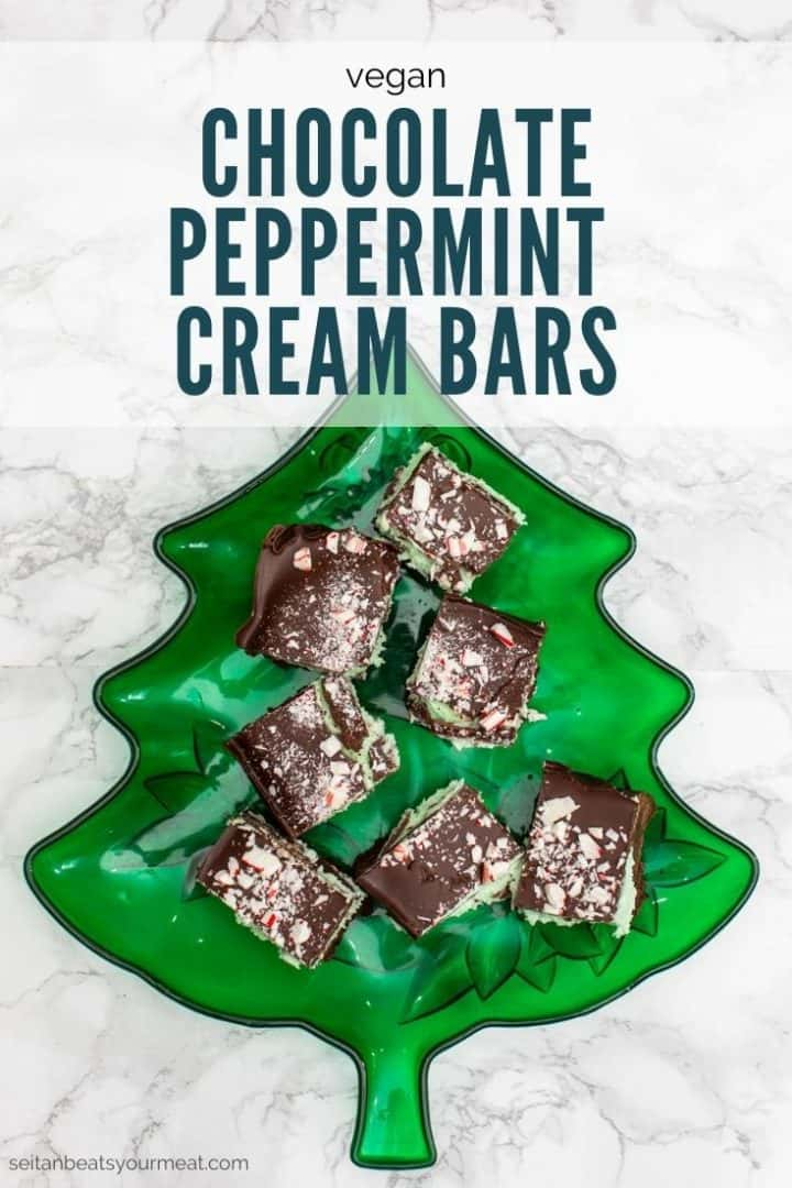 """Chocolate candy cane treats on green tree shaped plate with text """"Vegan Chocolate Peppermint Cream Bars"""""""