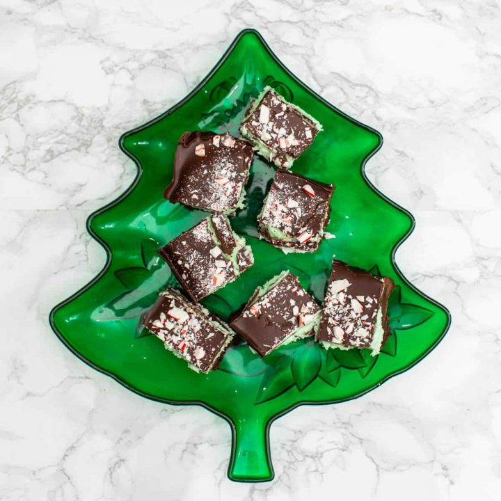 Chocolate peppermint cream bars on green tree-shaped plate