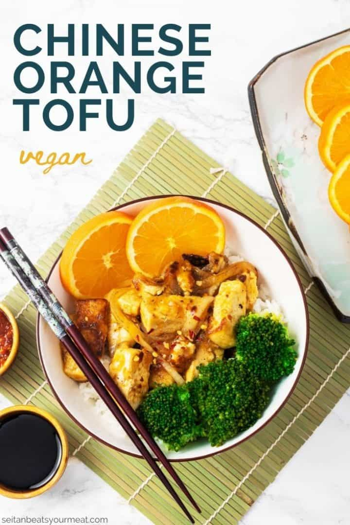 "Bowl of orange tofu with broccoli with text ""Chinese Orange Tofu"""