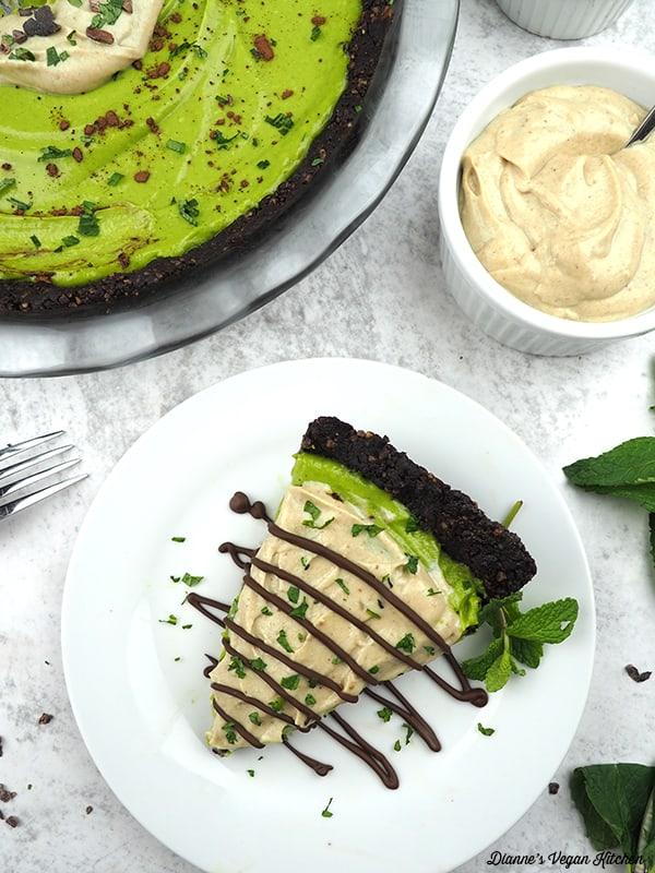 Slice of grasshopper pie on plate