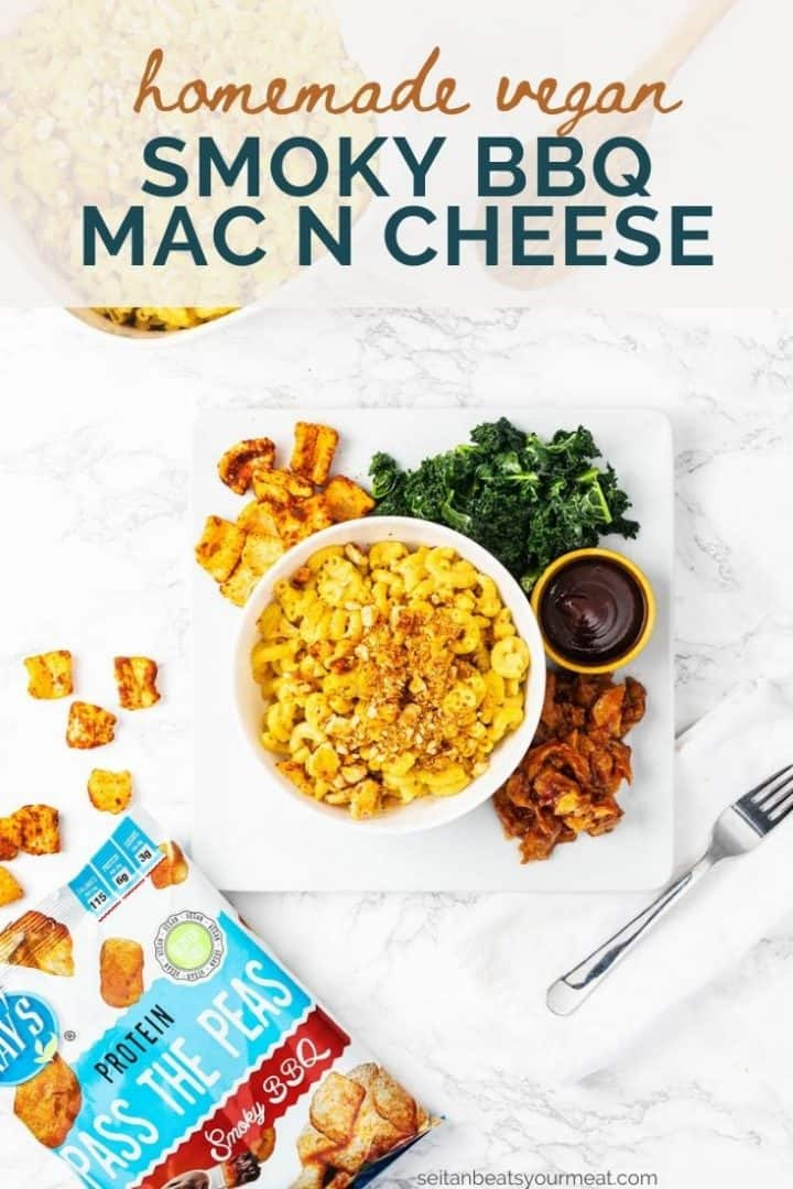 """Bowl of vegan mac n cheese in plate with kale, seitan, and barbecue sauce with text """"Homemade Vegan Smoky BBQ Mac n Cheese"""""""