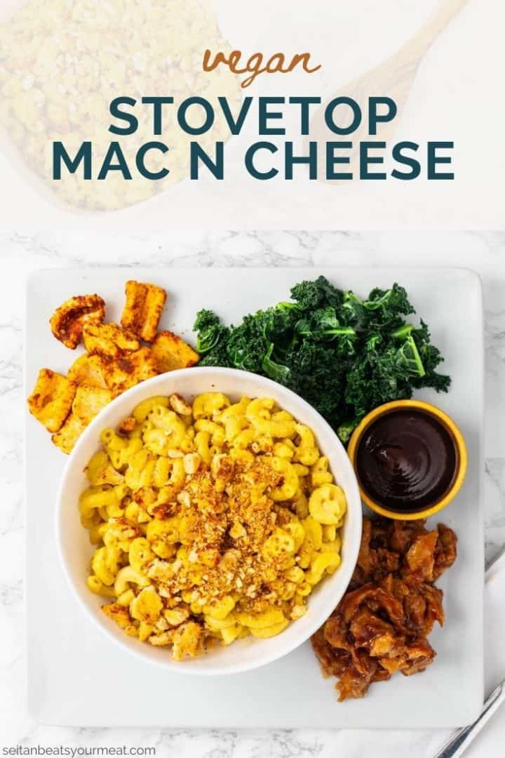 """Bowl of vegan mac n cheese in plate with kale, seitan, and barbecue sauce with text """"Vegan Stovetop Mac n Cheese"""""""