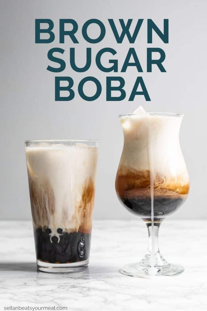 "Two brown sugar boba teas with text ""Brown Sugar Boba"""