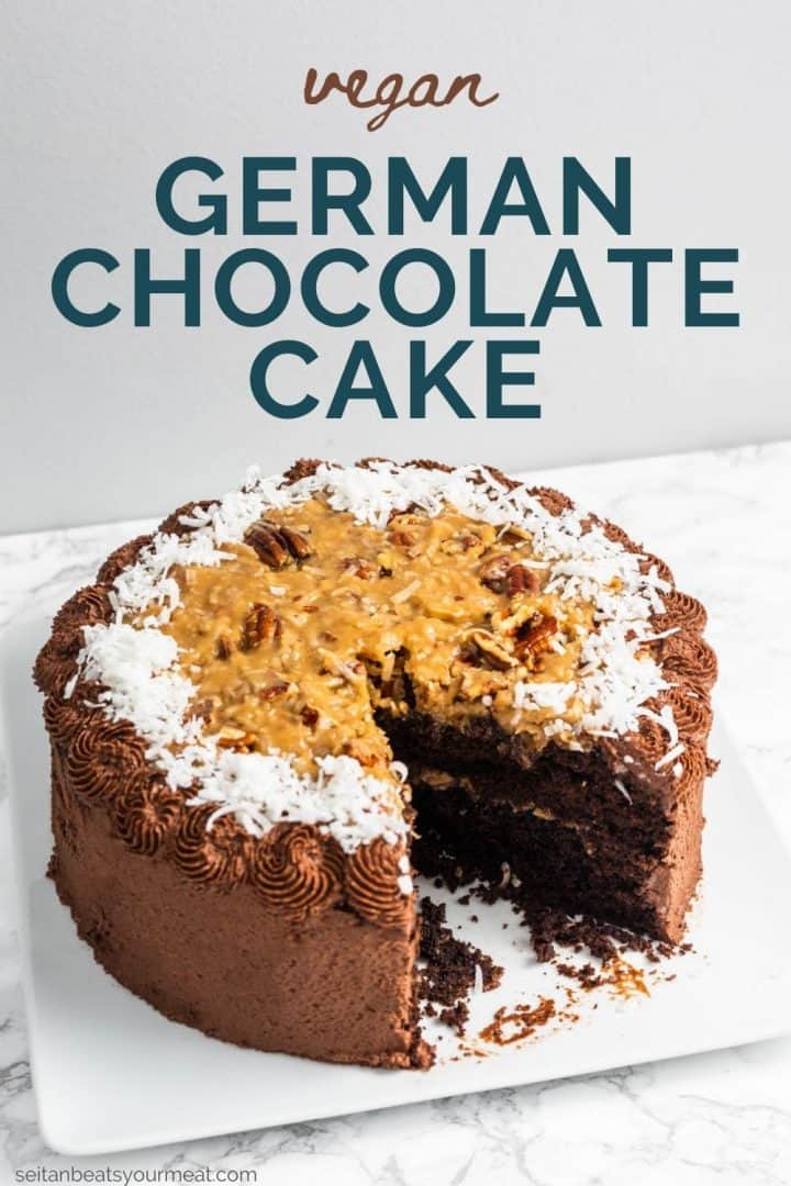 """German chocolate cake on plate with one slice removed and text """"Vegan German Chocolate Cake"""""""