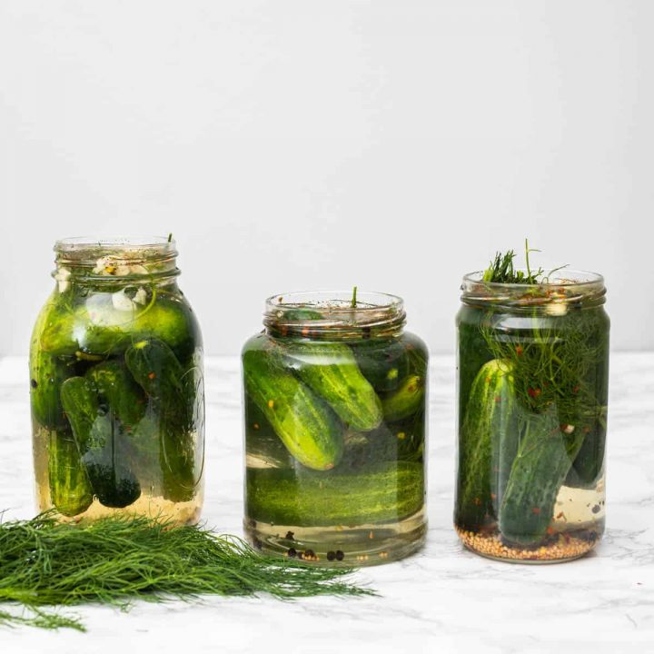 Three jars of homemade dill pickles