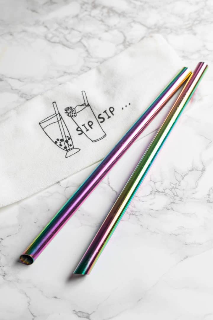 Two wide rainbow metal straws for bubble tea with canvas pouch