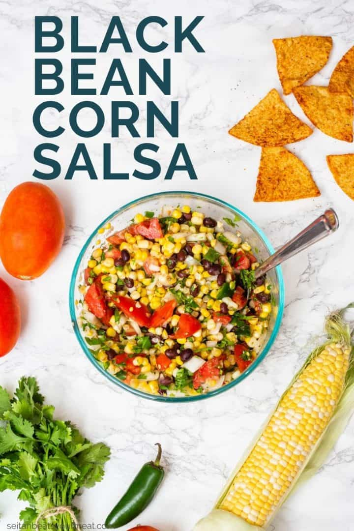 """Corn salsa surrounded by ingredients with text """"Black Bean Corn Salsa"""""""
